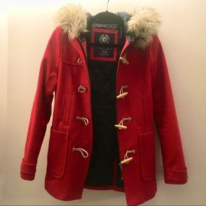 American Eagle red duffle coat with fur hood XS